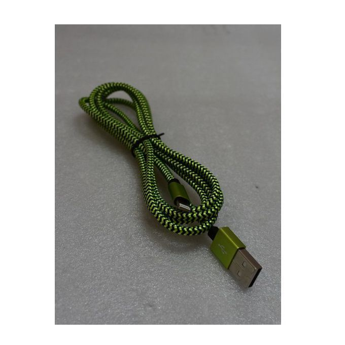 Picture of Braided iphone-USB Data Cable-Black/Green