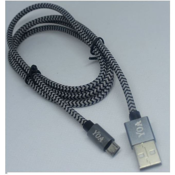 Picture of Braided Micro-USB Data Cable  - Black/Gray